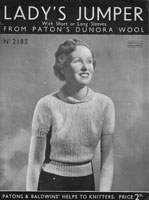 vintage 1930s ladies knitting pattern angora jumper patons 2183