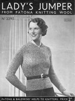 vintage 1930s ladies jumper knitting pattern patons 2293
