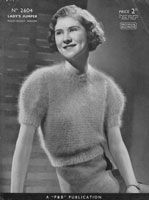 ladies vintage knitting pattern for angora jumper 1930s patons 2603