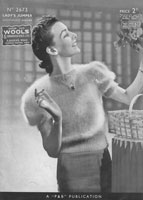 vintage ladies 1930s angora jumper knitting pattern patons 2673