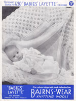 vintage layette dress caot and shawl knitting pattern 1940s