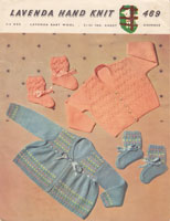 vintage baby 1950s knitting pattern for parm set hat with pompom