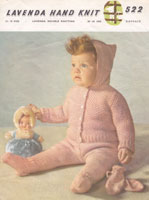vintage baby 1950s knitting pattern hooded jacket pram set