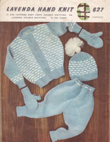 vintage baby knitting pattern pram set with fair isle jacket and pull on hat 1950s