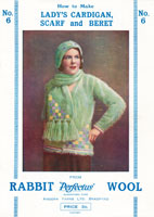 vintage angora knitting pattern from 1920s or maybe even earlier for ladies cardigan and scarf set