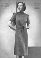 vintage ladies dress knitting pattern from 1930s