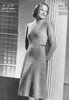 vintage ladies ddress knitting pattern from 1930s patons 2738