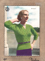 vintage ladies penelope M1517 knitting pattern fro jumper from late 1940s