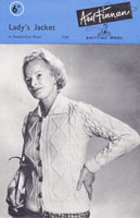 vintage ladies jacke with collar aran knitting pattern 1950s