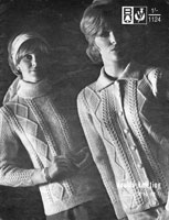 ladies vintage jackets and large collar jumper knitting pattern 1960s
