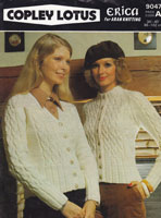 ladies vintage cardigan knitting pattern aran 1970s