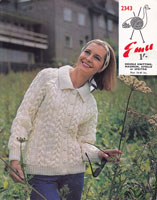 vintage ladies jacket aran knitting pattern 1960s
