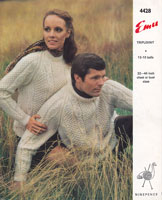 vintage emu aran knitting pattern for round neck aran jumper men and ladies knittingpattern 1960s
