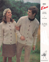 vintage ladies and mens round neck aran cardigan knitting pattern 1960s