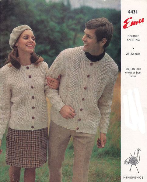 Vintage Aran Cardigan Knitting Pattern : Vintage Ladies Aran knitting patterns available from The ...