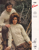 vintage ladies and mens crew neck aran knitting pattern 1960s