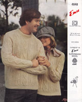 vintage ladies and mens rouynd neck double knitting aran style knitting pattern 1970s.