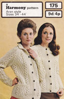 vintage ladies jacket knitting pattern aran 1969