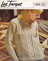 ladies 1960s aran jumper knitting pattern