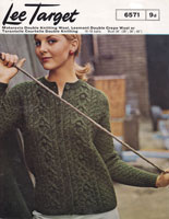 vintage ladies round neck aran cardigan in dopuble knitting aran style 1960s