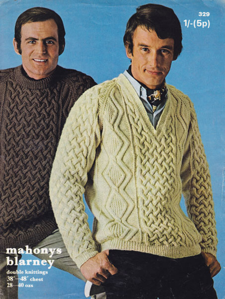 Designer Aran Knitting Patterns : Vintage Mens Aran knitting patterns available from The Vintage Knitting Lady