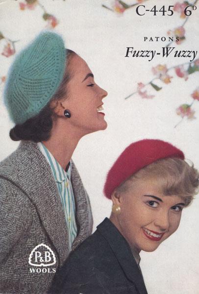 vintage ladies angora beret knitting pattern 1950s