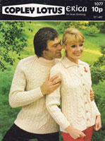 vintage mens and ladies aran knitting pattern 1970s