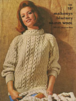 vintage mahonys aran knitting pattern ladies jumper 1960s