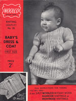 vintage baby dress set knitting pattern from1930s
