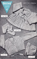vintage baby knitting pattern matinee and cardigan set 1940s