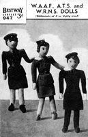 vintage wartime waaf ats and wrn doll knitting pattern