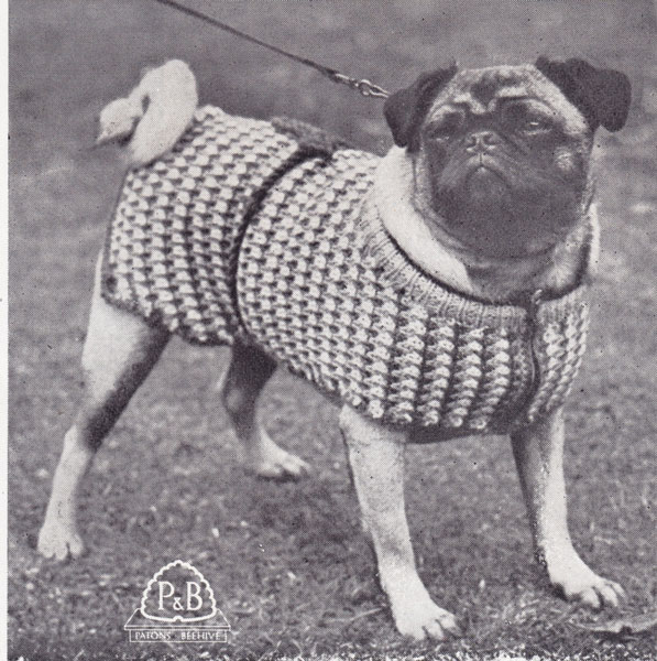 Knitting Pattern Dog Coat Pug : Vintage Hand knitted Gift knitting patterns available from The Vintage Knitti...