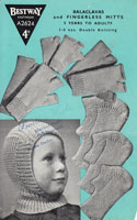 vintage boys simple to knit balaclava pattern from 1940s