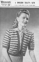 vintage ladies weldons 266 bolero knitting pattern 1940s