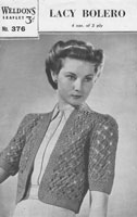 vintage ladies weldons376  vintage bolero knitting pattern 1940s