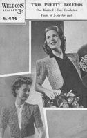 vintage ladies weldon 446 bolero knitting pattern 1940s