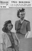 vintage weldons 502 ladies vintage bolero knitting pattern 1940s
