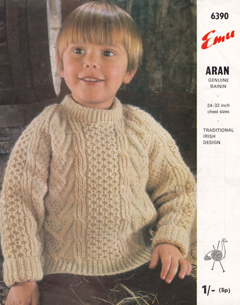 Childs Aran Jumper Knitting Pattern : Vintage Aran knitting patterns available from The Vintage Knitting Lady