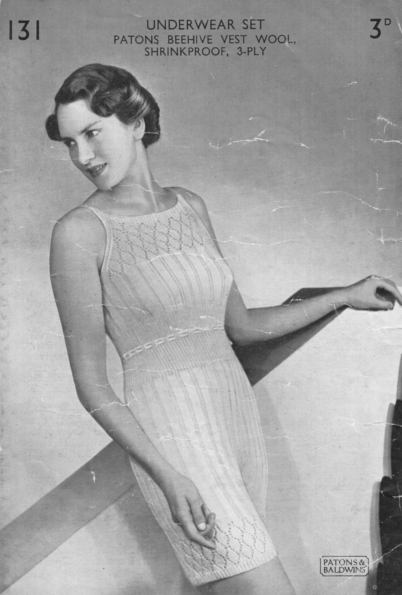7fda4b1779 vintage patons 131 ladies underwear knitting pattern vest and knickers