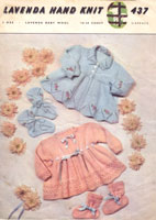 vintage matinee coat and bootee patterns 1950s lavenda colour patterns