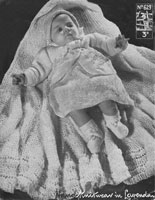 vintage baby layette lavenda knitting pattern dres jacket shawl bonnted bootees knitting pattern 1940s