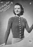 vintage ladies button up jumper in 4ply from 1930s