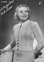 vintage ladies cadigan knitting pattern in vintage souble knittin form 1940s