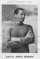 vintage naval polo neck pullover knitting pattern 1940s