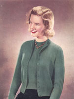 vintage ladies classic twin set knitting pattern from 1940s