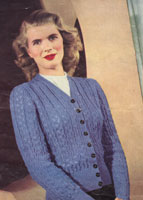 vintage ladies knitting pattern for jumper from 1940s