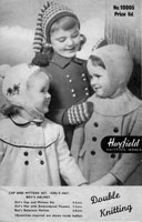 vintage childrens hats knitting pattern from 1950s