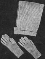 vintage 1930s knitting pattern for girls hood and gloves