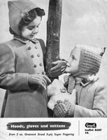 vintage girls hoods knitting pattern from 1940s