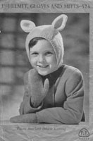 vintage patons bunny ear helmet for child 1940s knitting pattern